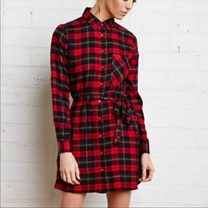 Forever 21 Red Plaid Flannel Shirt Dress